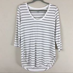 Striped nautical shirt 3/4 sleeve high low hem